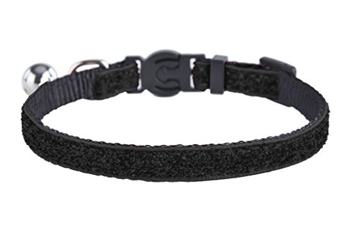 EXPAWLORER Adjustable Breakaway Sparkle Nylon Cat Collar with Bell for Pet Dog Puppy Kitten , Black