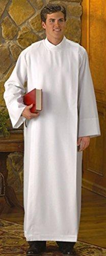 - R.J. Toomey White Polyester Front Wrap Clergy Alb (Medium)