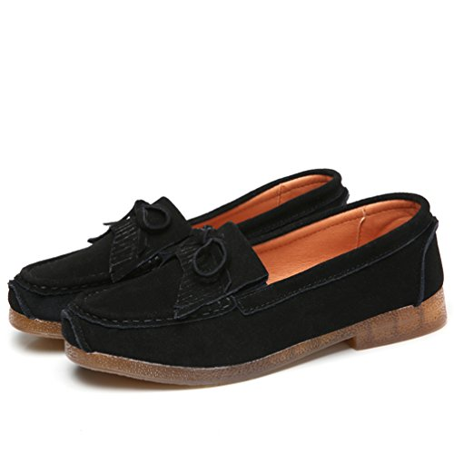 Sanearde Women's Casual Loafers Suede Leather Moccasins Comfort Driving Shoes Flat Slip-on Slippers