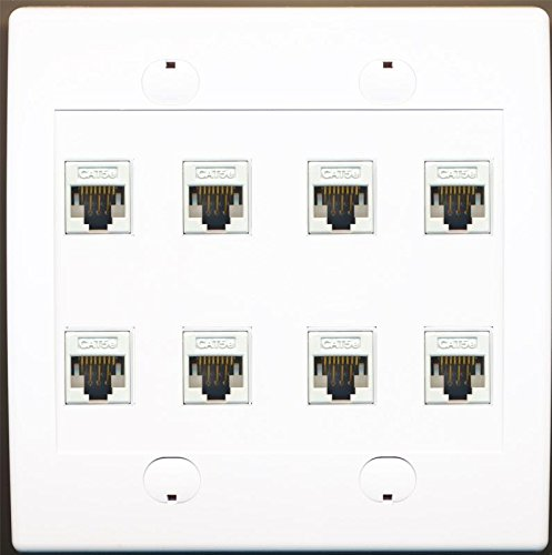 RiteAV 8 Port Flat Dual 2 Gang Ethernet Cat5e RJ45 Network Wall Plate - White ()