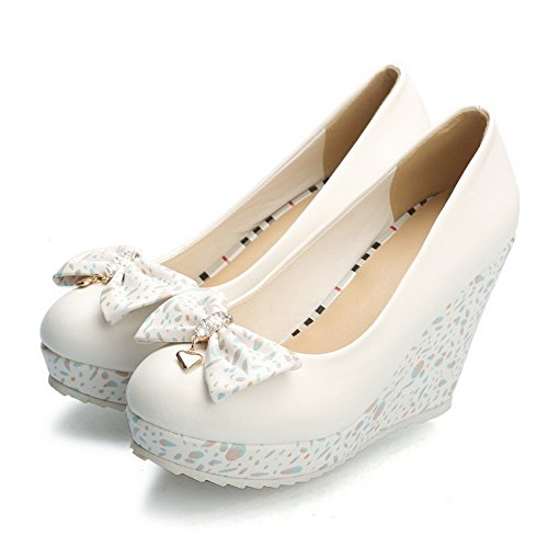 Chiusa Su Pu Solidi Donne Estraibili Punta tacchi Bianco calzature Weenfashion Rotonda Pompe FZ1wtBq