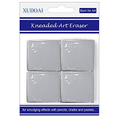 Kneaded Art Eraser, XUDOAI Grey Soft Durable Putty Rubber, Kneadable Rubber Eraser Set (4 Pack)
