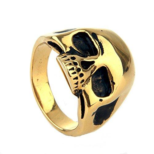 817dcc42531f En venta Bishilin Joyas Anillo de Hombre Acero Inoxidable Alto Pulido  Cráneo Anillos Oro Tamaño 11