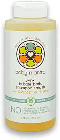Baby Mantra 3-in-1 Bubble Bath, Shampoo and Body Wash - EWG Verified Bath Bubbles for Infants, Toddlers, and Kids with Sensitive Skin, 12 Fluid Ounces
