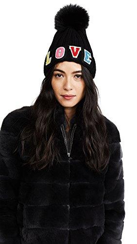 Jocelyn Women's Love Fur Pom Hat, Black Multi, One Size by Jocelyn