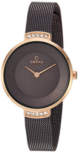 Obaku Women's Quartz Stainless Steel Dress Watch, Color:Brown (Model: V177LEVNMN)