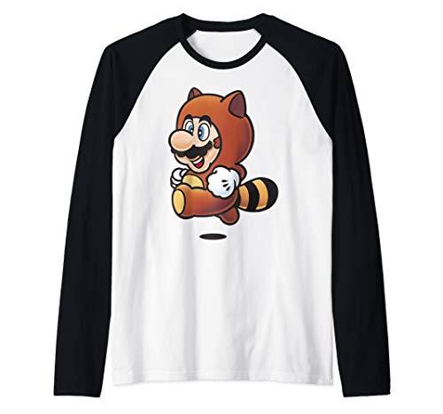 Nintendo Super Mario Tanooki Suit Jump  Raglan Baseball Tee