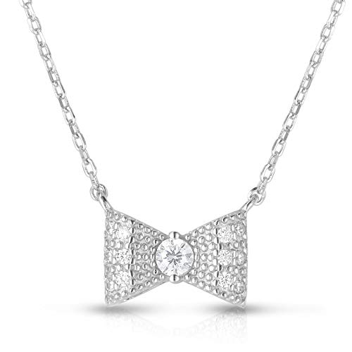 "Unique Royal Jewelry 925 Sterling Silver Cubic Zirconia Bow Tie Ribbon Pendant Necklace with Adjustable Length 16"",17"" or 18"". (Rhodium-Plated Sterling Silver)"