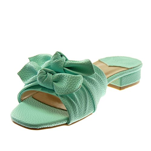 Talon Mule Mode Sandale Slip Angkorly Femme Cm on Noeud Grainé Chaussure 3 Bloc Vert 76bfyYgv