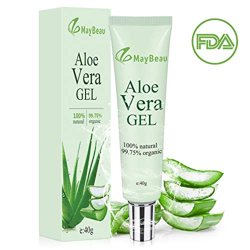 MayBeau Organic Aloe Vera Gel 1.4oz Acne Scar Treatment Portable Size Scar Cream for Face Moisturizing Sunburn Eczema Itching Burn