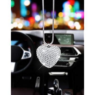 Alonar White Heart Bling Car Rear View Mirror Charms Decor,Hanging Interior Ornament Pendant Sun Catch Car Pendant (White Heart): Automotive