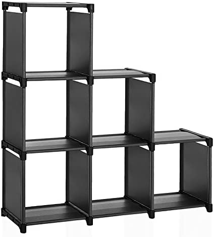 SONGMICS 6 Cube Storage Shelves, Modular Bookshelf Toy Rack, Display Cabinet and Closet Organizer Unit, ULSN63BK, Pure Black diy