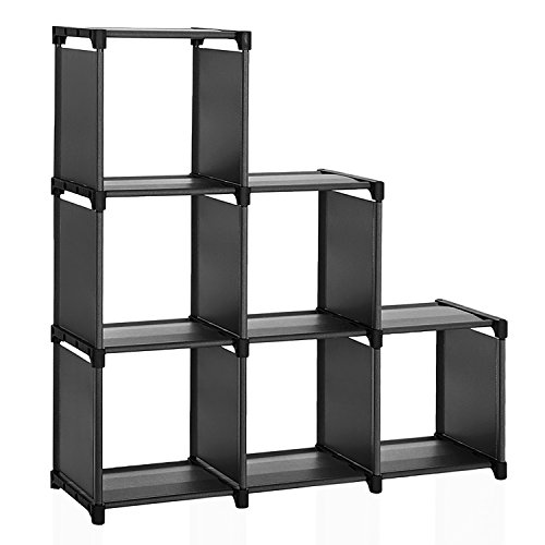 SONGMICS 6 Cube Storage Shelves, DIY Modular Bookshelf Toy Rack, Display Cabinet and Closet Organizer Unit, Black ULSN63BK