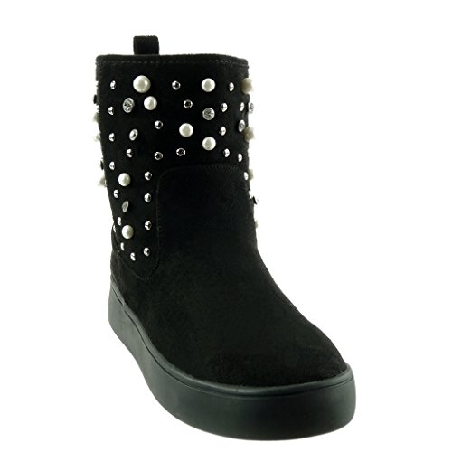 pearl Black Booty CM 3 Block Women's Angkorly Boots Fashion Shoes studded Heel platform Ankle rhinestone Snow boots zxFqTa