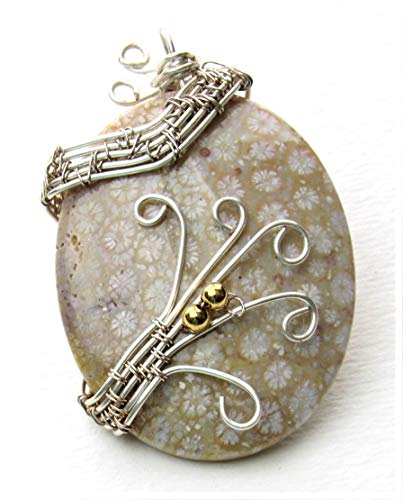 Tan & Cream Fossil Coral Handmade Wire Wrapped Pendant Necklace