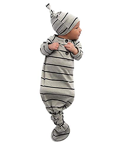 Divilon Unisex Baby Striped Cotton Sleeper Gowns with Cap Long Knotted Sleeping Bag (Grey, 0-6 Months) ()