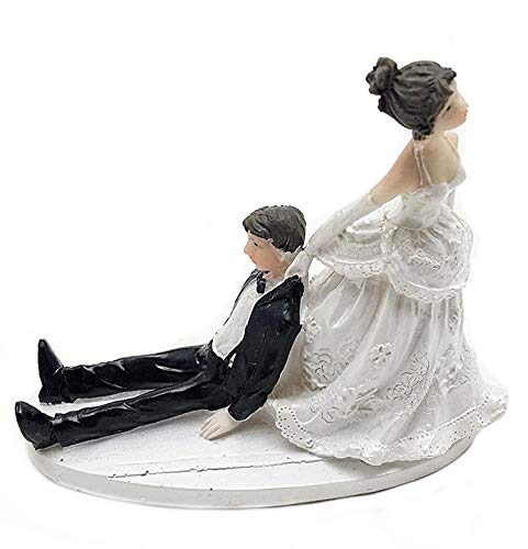 Bride and Groom Cake Top Funny Couple Inebriated Groom (Groom Cake Top)