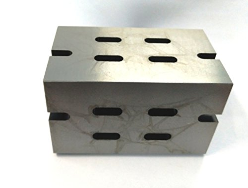 QUALITY PRECISION GRADED CASTE IRON VEE ANGLE PLATES-STRESS RELIEVED - WORK-HOLDING CLAMPING MILLING ENGINEERING MACHINE TOOLS-HEAVY DUTY (4'' x 4'' x 6'' (100 x 100 x 150 mm) -Slotted) by ASSORTS (Image #1)