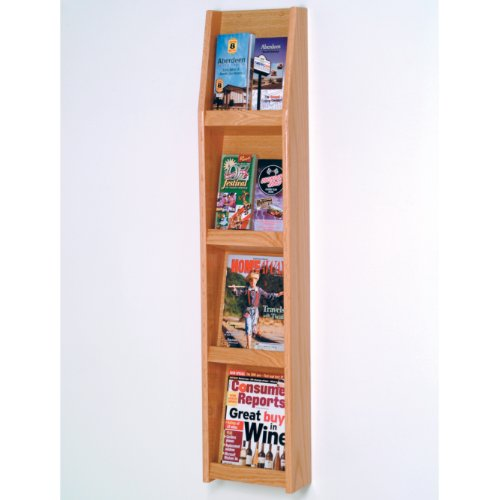 DMD Magazine Rack, Wall Mount Literature Display Stand, 8 Pocket, Light Oak Wood Finish -