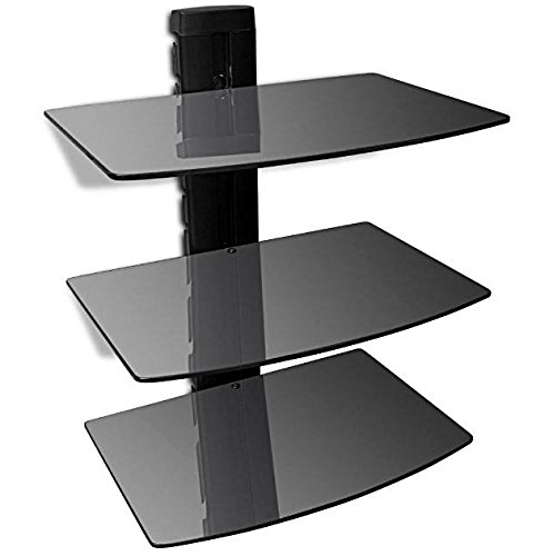 eXXtra Store Black Wall Floating Mount 3 Shelf Glass Stand AV Console DVD TV Component Cable + eBook (Console Component)