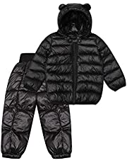 Winter Outwear Set for Kids with Padded Hoods Light Puffer Jacket+Pant for Baby/Infants/Toddlers Boys and Girls