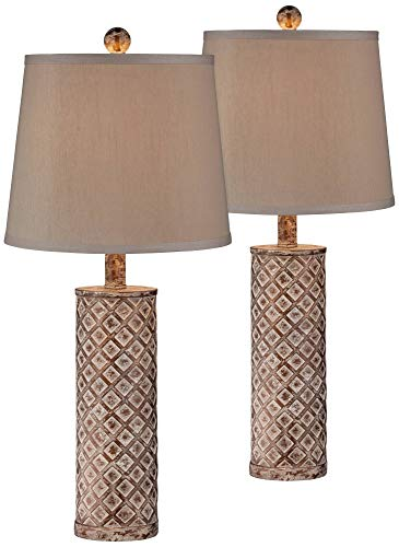 (Gisele Cottage Table Lamps Set of 2 Gold Wash Lattice Column Tapered Drum Shade for Living Room Family Bedroom Nightstand - 360 Lighting)