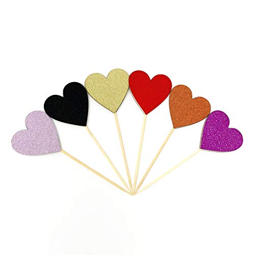 60pcs LARGE Heart Cupcake and Cake Toppers - Double Sided Assembled Heart Decoration Picks