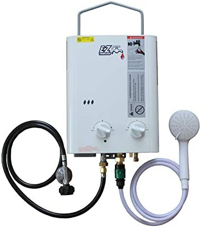 EZ Camp Champ 1.8 GPM Propane LPG gas – Small – Portable – Point of use – Outdoor Tankless Water Heater System