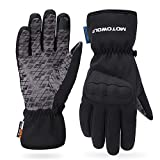 AINIYF Ski Gloves | Motorcycle Winter Racing Off-Road Riding Locomotive Touch Screen Drop-Slip All-in-One Tactical Mittens Knight Warm (Color : Black, Size : XL)