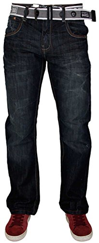 Fly Dark Denim Jeans Designer Pants Zip Mens Casual Wash Belt Free Crosshatch qv1tTwn