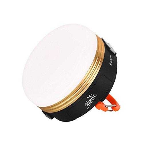Hihill LED Campinglampe Mini Wiederaufladbare Camping Laterne 3W 3 Licht Modi Warmes Weiß mit USB Output für Campingtrip Wandern Abenteuer usw