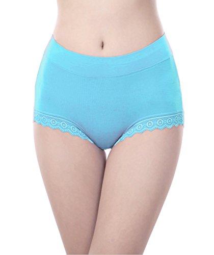 YL LY Womens Cotton Lace High Waist Comfy Covered Stretch Boyshort Panty (Blue Lace Boyshort Set)