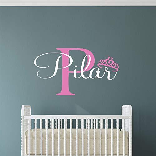 Custom Name Princess Nursery Wall Decal - Girls Personalized Name Princess Wall Sticker - Custom Name Sign - Custom Name Stencil Monogram - Baby Girl Nursery Room Wall Decor ()