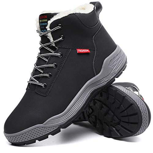 Aliwendy Mens Winter Snow Boots Fur Lined Warm Ankle Booties Waterproof Slip-on Sneakers Lightweight High Top Outdoor Shoes(Black 10) ()
