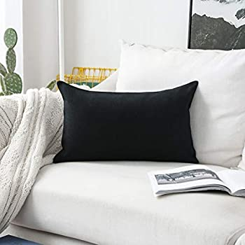 Home Brilliant Decorative Throw Pillow Covers for Couch Oblong Pillows Rectangular Pillow Cover, 12x20 inch, 30x50 cm, Black
