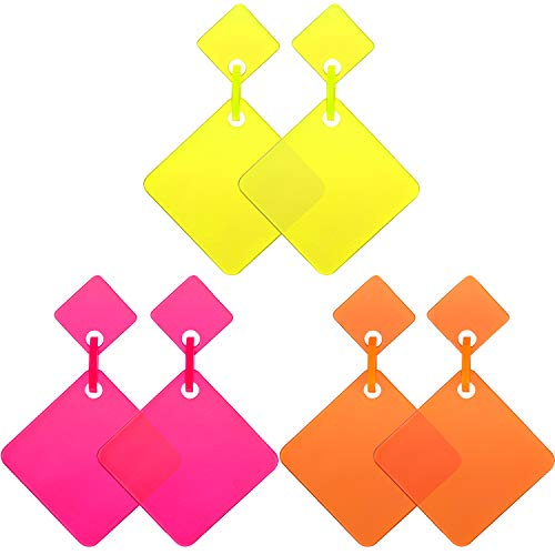 * NEW * 3 Pairs of Neon 80s Square Dangle Earrings