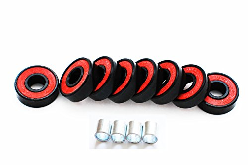 Abec-7 Skateboard Bearings w/ Heavy Duty Metal and Supper Titanium Skateboard bearings (black / red)