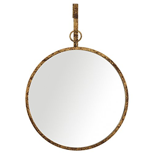 - Rivet Round Glass Hanging Wall Mirror, 30 Inch Height, Weathered Finish