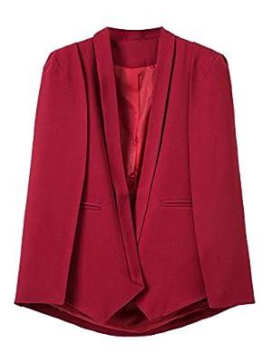 CR Women's Red Lapel Open Front Split Sleeves Fall Cape Blazer