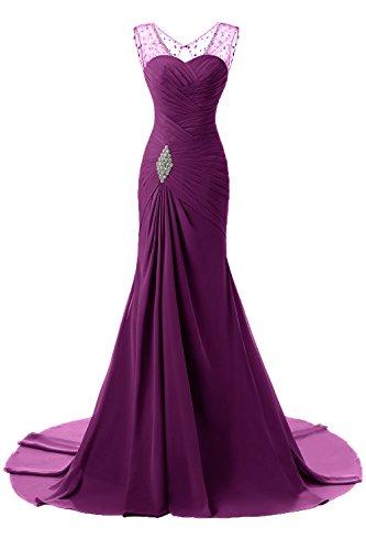 gasa maxi de de la curso vestido de las de Morado de FOLOBE de largas boda formales fin mujeres dama Oscuro honor largo vestido gasa de la baile qwSCnEf