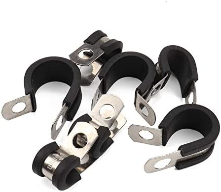 Silverfer 20 pcs en Caoutchouc Coussin/é en Acier Inoxydable Pince pour Tuyaux C/âble Pince en M/étal Pince Tube Titulaire De Voiture Auto Remplacement Kit