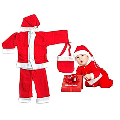 ARTBOX Premium Quality Santa Clause Costume Christmas Dress for Kids with Elastic Inside (Size 0 no for 3 Month to 6…