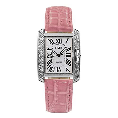 Becoler Store Ladies Quartz Watch, PU Leather Strap Analog Wrist Watch Square Rhinestone Watches