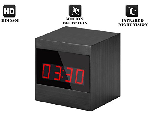 Hidden Camera Nanny Cam Spy Camera Spy Gear 1920 x 1080P HD Night Vision Spy Clock Camera Hidden Camera Clock With Motion Detection Remote Controller (Black)