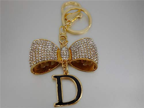 1 Set Rhinestone Crystal Bow Letter Keyring Pendant Teenagers Keys Hooks Strap Key Holder Leading Popular Pocket Girls Bag Car Keychains
