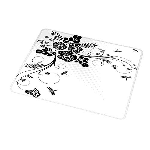 - Art Mousepad Dragonfly,Floral Ornament with Fern Plants Leaves Nature Elegance Stylized Illustration,Black White,Customized Rectangle Non-Slip Rubber Mousepad 9.8
