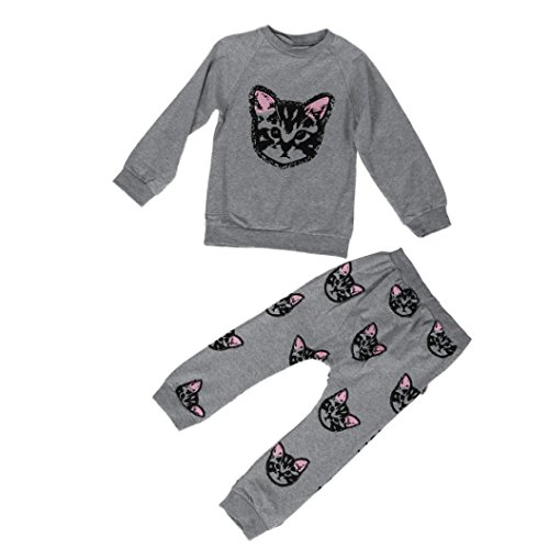 NEARTIME Kid Clothes Set, New Baby Boys Girls Set Clothes Long Sleeve Cats Print Tracksuit +Pants Outfits Set (Gray, 3T-4T) ()