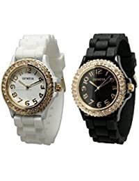 TWO White & Black w/ Gold Tone Platinum Silicone Rubber Jelly w/ CZ Crystal Rhinestones Face Bling Bezel Watch