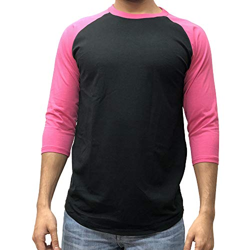 - KANGORA Men's Plain Raglan Baseball Tee T-Shirt Unisex 3/4 Sleeve Casual Athletic Performance Jersey Shirt (24+ Colors) (Black Pink, X-Large)
