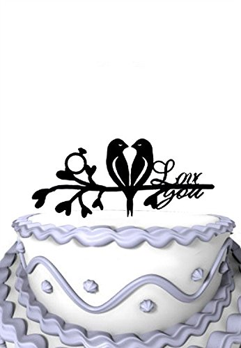 Meijiafei 2 Love Birds and Tree With Engagement Rings Cake Topper Love You Phrase (Birds Love 2)
